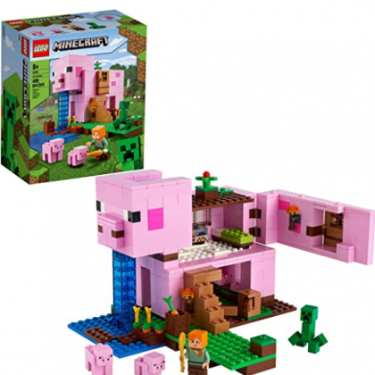 LEGO Minecraft The Pig House 21170 Minecraft Toy Featuring Alex, a Creeper and a House Shaped Like a Giant Pig, New 2021 (490 Pieces)